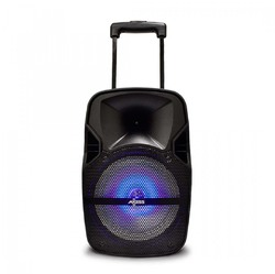 """Axess 8"""" Bluetooth Portable Party Trolley Speaker with LED Lights Remote & Wired Mic"""