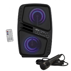 "Axess Portable BT Speaker - Double 6.5"" LED 260W  SpeakerTWS Link FMMic In AuxUSB"