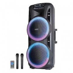 """Axess Party Rock Bluetooth PA Speaker  2-15"""" Woofers 10000 Watts LED Lights"""