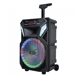 """Axess 12"""" Bluetooth Portable Party Speaker with LED Lights Remote & Wired Mic"""