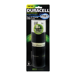 Duracell Standard USB to Lightning Sync and Charge Flat Cable 8' (White)
