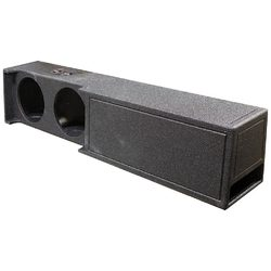 """Qpower Dual 10"""" Ported Woofer Box for 2019+ Dodge Crew Cab Truck Bed Liner Coating"""