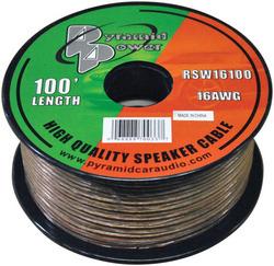 SPEAKER WIRE PYRAMID 16 GA 100' CLEAR