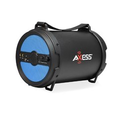 "AXESS Portable Bluetooth 2.1 Hi-Fi Cylinder Loud Speaker Built-In 6"" Sub Blue"