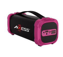 AXESS Indoor/Outdoor Bluetooth Media Speaker 3.5mm Line-In Jack Rechargeable Battery Subwoofer Pink