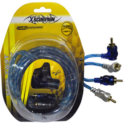 RCA CABLE 18' RIGHT ANGLE BLUE/PLATINUM TWISTED