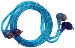 RCA CABLE 3' RIGHT ANGLE BLUE/PLATINUM TWISTED