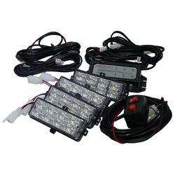 Category: Dropship Led Lights, SKU #SV4LED281W, Title: Street Vision (4) L.E.D Grill Strobe Light Kit--White*EACH*