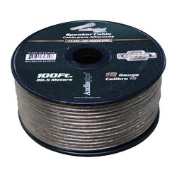 Audiopipe 12 Gauge 100% Copper Series Speaker Wire - 100 Foot Roll - Clear PVC Jacket
