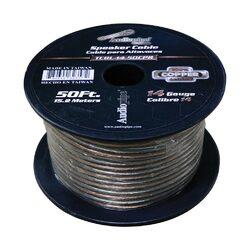 Audiopipe 14 Gauge 100% Copper Series Speaker Wire - 50 Foot Roll - Clear PVC Jacket