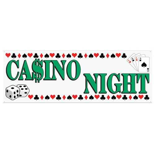 CASINO NIGHT BANNER 5FT X 21IN