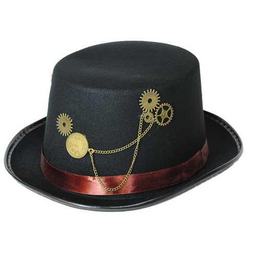 STEAMPUNK HAT BLACK BROWN BAND
