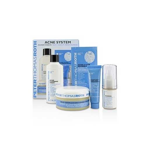Acne System: Acne Clearing Wash 57ml + AHA/BHA Acne Clearing Gel 15ml + Acne Spot & Area Treatment 7.5ml + Acne-Clear Invisible Dots 12dots + Max Complexion Correction Pads 20pads 5pcs