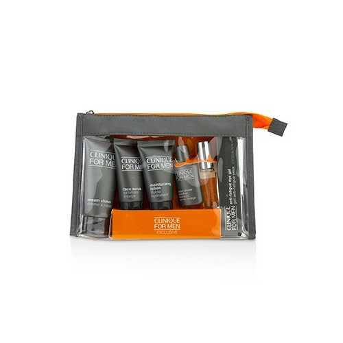 Clinique For Men Exclusive Travel Set: Moisturizing Lotion+Eye Gel+Post-Shave Soother+Face Scrub+Cream Shave+Cologne Spray  6pcs
