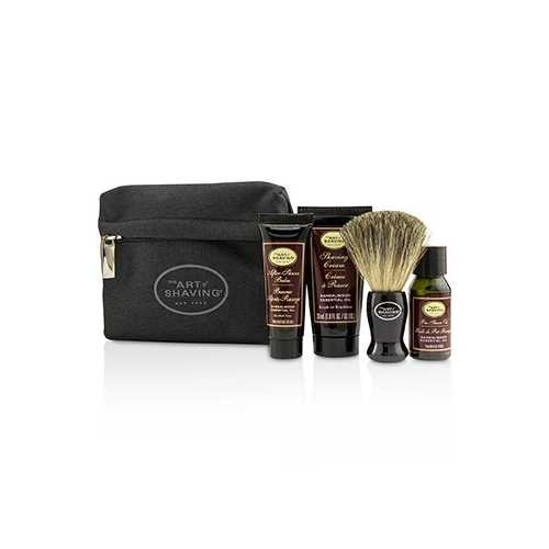 Starter Kit - Sandalwood: Pre Shave Oil + Shaving Cream + After Shave Balm + Brush + Bag  4pcs + 1Bag