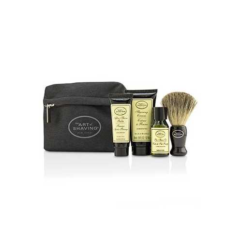 Starter Kit - Unscented: Pre Shave Oil + Shaving Cream + After Shave Balm + Brush + Bag  4pcs + 1 Bag