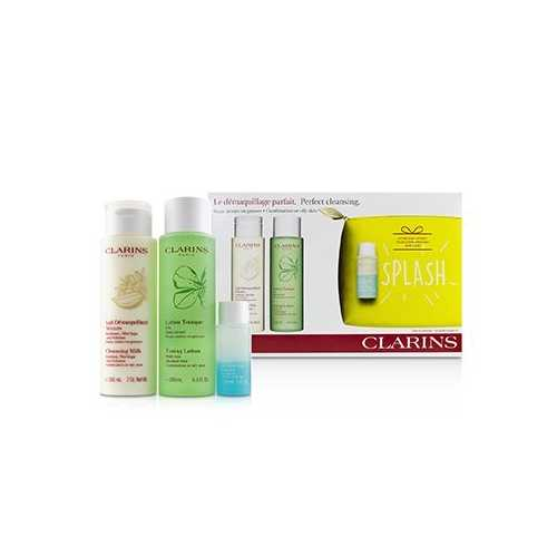 Perfect Cleansing Set (Combination or Oily Skin): Cleansing Milk 200ml+ Toning Lotion 200ml+ Eye Make-Up Remover 30ml+ Bag  3pcs+1bag