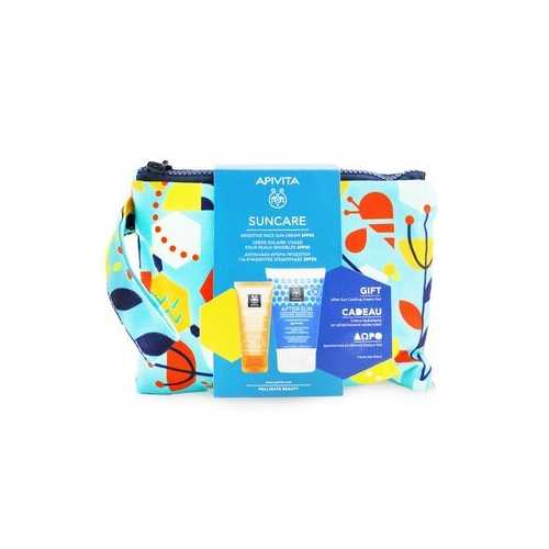 Suncare Gift Set: Sensitive Face Cream (Chamomile & 3D Pro-Algae) SPF50 50ml + After Sun Cooling Cream-Gel 100ml  2pcs+1pouch
