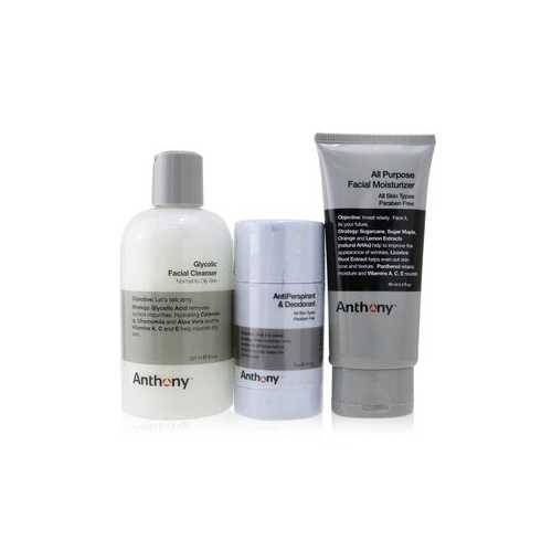 Basic Kit With AntiPerspirant & Deodorant: Cleanser 237ml + Moisturizer 90ml + Deodorant 70g  3pcs