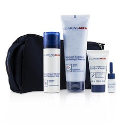 Men Everyday Heroes Set: 1x Exfoliating Cleanser 125ml + 1x Super Moisture Balm 50ml + Shampoo & Shower 30ml + Shave Ease 3ml  4pcs