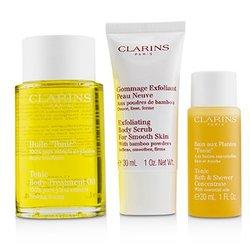 Home Pampering Set: Tonic Body Treatment Oil 100ml+ Exfoliating Body Scrub 30ml+ Tonic Bath & Shower Concentrate 30ml  3pcs