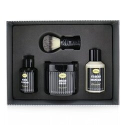 4 Elements Shaving Full Size Kit -Unscented: Pre-Shave Oil 60ml + Shaving Cream 150ml + After-Shave Balm 100ml + Genuine Badger Brush  4pcs