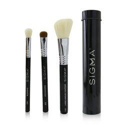 Essential Trio Brush Set - # Black  3pcs+1 Tin