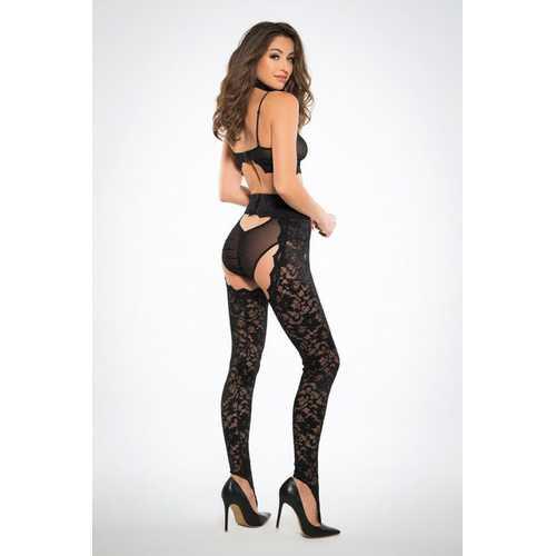 Freya Wild Lace Chaps Panty and Bra - Black - Medium