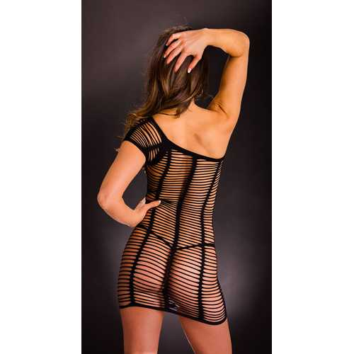 Horizontal One Shoulder Dress - One Size - Black