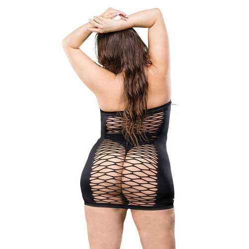 2 Way Tube Mesh Dress - Black - 1x-4x