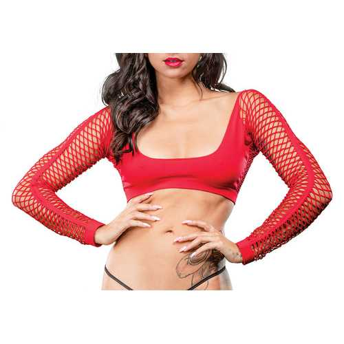 Crotchless Short Style With Mesh Bottom Leggings - One Size - Red