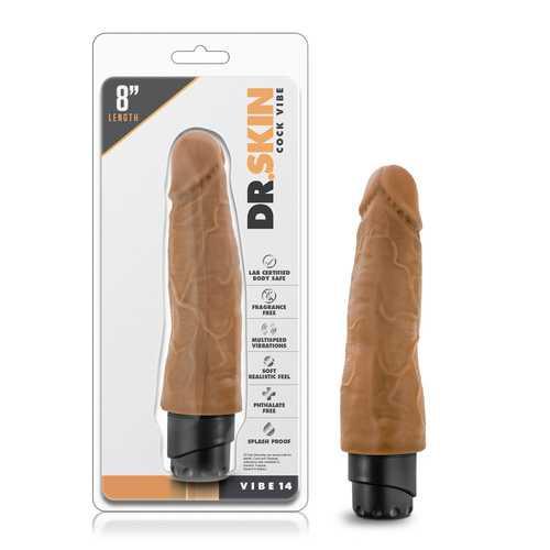 Dr. Skin - Cock Vibe 14 - 8 Inch Vibrating Cock - Mocha