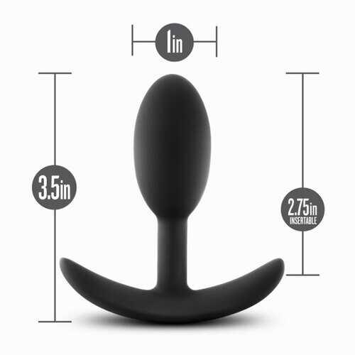 Anal Adventures - Platinum - Silicone Vibra Slim  Plug - Small - Black