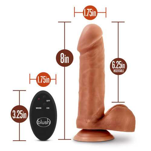 Dr. Skin- 8 Inch 10 Function Wireless Remote Dildo - Mocha