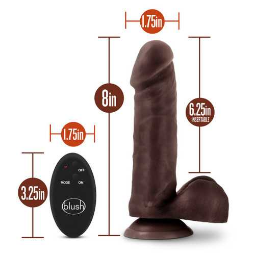 Dr. Skin - 9 Inch 10 Function Wireless Remote Dildo - Chocolate