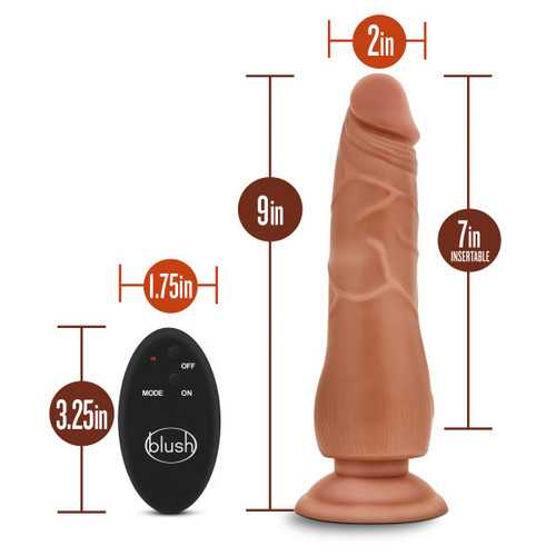 Dr. Skin - 9 Inch 10 Function Wireless Remote Dildo - Mocha