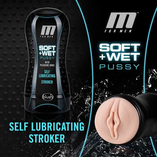 M for Men - Soft and Wet - Pussy With Pleasure Orbs - Self Lubricating Stroker Cup - Vanilla