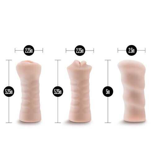 M for Men - 3-Pack Self-Lubricating Vibrating  Stroker Sleeve Kit - Vanilla