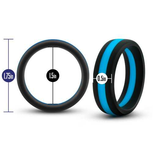 Performance - Silicone Go Pro Cock Ring -  Black/blue/black