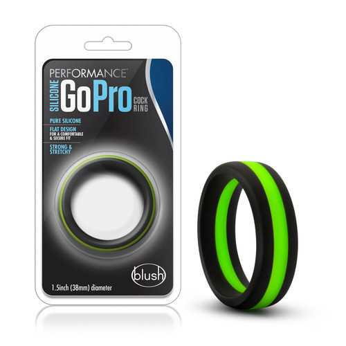 Performance - Silicone Go Pro Cock Ring -  Black/green/black