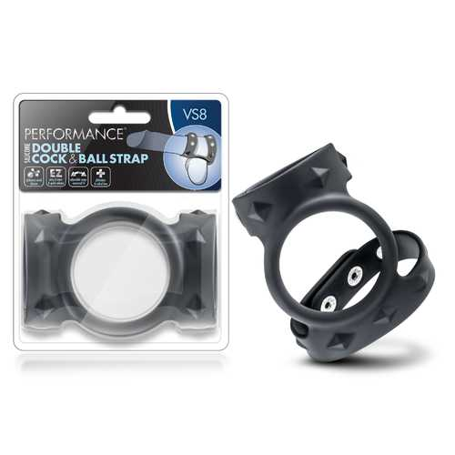 Performance - Vs8 - Silicone Double Cock & Ball Strap - Black