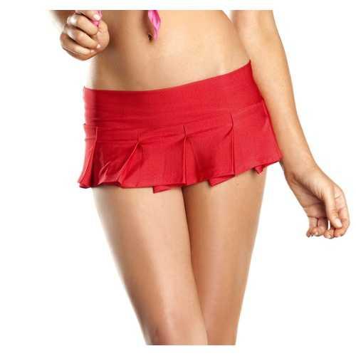 Red Pleated Mini Skirt - Medium/ Large