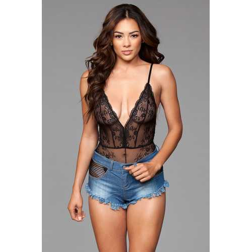 Denim Shorts With Fishnet Top Trimming and Fringe  Bottom Details - Small