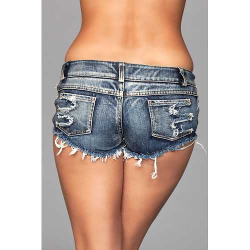 Medium Wash Denim Shorts With Distressed Details on Front and Back Pockets - Large
