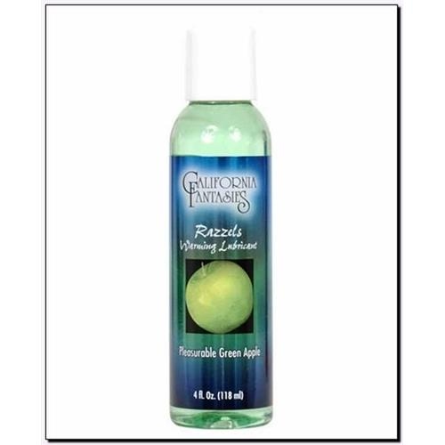 Razzels Warming Lubricant - Pleasurable Green Apple - 4 Oz. Bottle