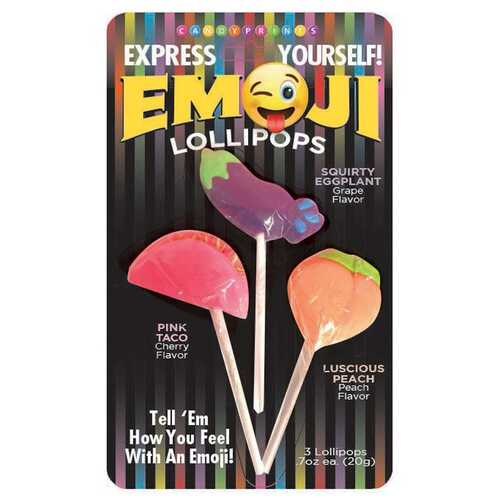 Emoji Lollipops 3 Fruit Flavored