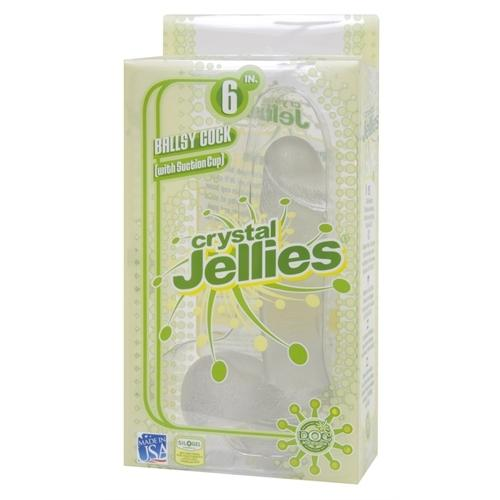 Crystal Jellies 6 Inch Ballsy With Suction Cup - Clear