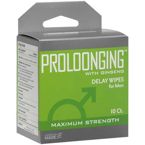 Proloonging With Ginseng - Delay Wipes for Men -  10 Pack