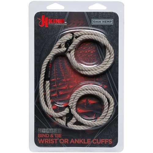 Kink - Hogtied - Bind & Tie - 6mm Hemp Wrist or  Ankle Cuffs - Natural