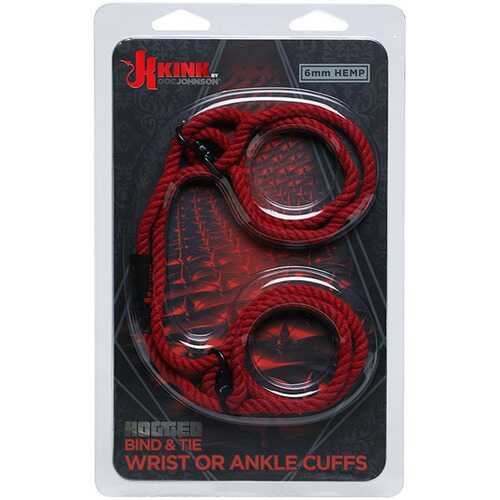 Kink - Hogtied - Bind & Tie - 6mm Hemp Wrist or  Ankle Cuffs - Red